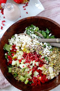Pomegranate Pistachio Pear Salad with Pomegrante Yogurt Dressing