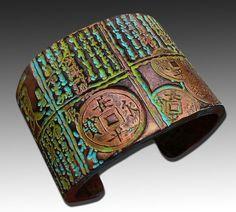 Asian distressed polymer clay cuff bracelet door adrianaallenllc