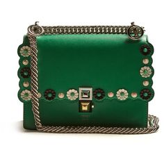 Fendi Kan I small flower-appliqué leather cross-body bag (132.280 RUB) ❤ liked on Polyvore featuring bags, handbags, shoulder bags, purses, green, crossbody purse, green leather shoulder bag, green leather handbag, fendi shoulder bag and cross-body handbag
