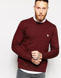 """Sweatshirt by Paul Smith Jeans Loop-back sweat Crew neck Logo applique Ribbed trims Regular fit - true to size Machine wash 100% Cotton Our model wears a size Medium and is 191cm/6'3"""" tall"""