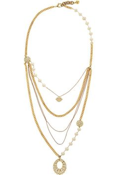 Lulu Frost Gold-plated, crystal and freshwater pearl necklace