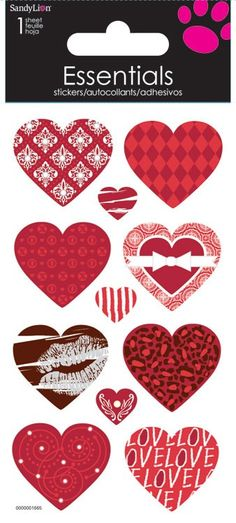 patterned hearts - essential stickers