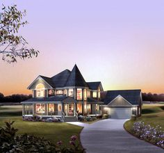 House Plan 86939 | Victorian Plan with 2560 Sq. Ft., 4 Bedrooms, 3 Bathrooms, 2 Car Garage at family home plans  floor plan attached