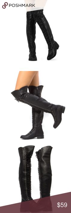 """Over The Knee Boots Brand new, 1.25"""" heel, cushioned insole for comfort, front lace-up with long side zipper, fits true to size, faux leather, 17"""" opening at top. Shoes Over the Knee Boots"""