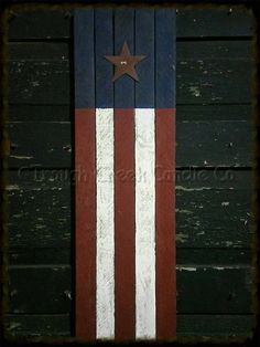 7358f092a7f4 24 in Primitive Painted Lath Flag Regular Rusty Tin Star Vertical -  Especially For You Home