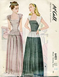 McCall 6403 Vintage 1940s Gown Long Evening by FloradoraPresents, $33.00