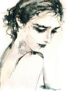 """Saatchi Art Artist Hein Kocken; Drawing, """"Unknown Lady, Eva?"""" #art"""