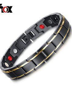 Men's Health Bracelets & Bangles Magnetic H Power Stainless Steel