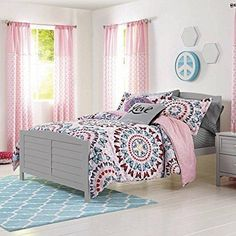 Girls Butterfly Medallion Theme Comforter Twin/Twin XL Set Boho Chic Butterflies Flowers Circle Design Pretty Pink Pattered Bedding Abstract Colors