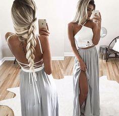 Two piece Lace backless Prom Dress,CHeap Long Chiffon