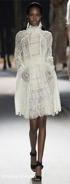 While more common in 2015 and on the spring runways, both embroidery and lace are still a vital part of the fall/ winter 2016-2017 fashion trends, making the appearance of turtleneck lace dresses under velvet layers and over masculine pants rather refreshing. At Mulberry, the gorgeous lace dresses also come with leather jackets worn over and shiny studs adding to the swishing effects of the skirts, making the pieces all the lovelier to own.
