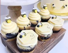 the cutest bee cupcakes ever! - See More Bee Party Ideas at B. Yellow Desserts, Cute Desserts, Bee Birthday Cake, Birthday Cupcakes, Cupcake Soap, Cupcake Cakes, Bee Cake Pops, Bee Party Favors, Gender Reveal Cupcakes