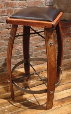 Pura Vida Home Decor - Wine barrel stool chocolate leather, $220.00 (http://stores.puravidahomedecor.com/wine-barrel-stool-chocolate-leather/)