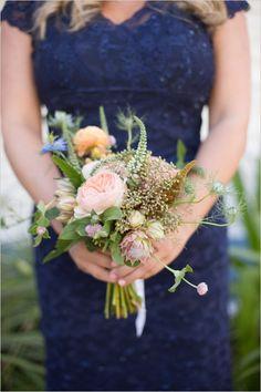 navy blue bridesmaid dress #bridesmaid #bouquet #weddingchicks http://bit.ly/1hIzW7C
