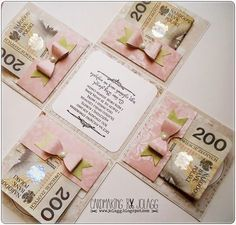 Cardmaking by jolagg Wedding Boxes, Wedding Cards, Wedding Gifts, Wedding Wishes, Scrapbook Box, Scrapbooking, Creative Money Gifts, Diy And Crafts, Crafts For Kids