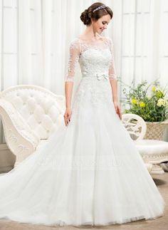 [R$ 887.69] Vestidos princesa/ Formato A Sem o ombro Cauda longa Tule Renda Vestido de noiva com Bordado Lantejoulas Curvado (002056466)