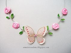 Necklace Wire roses and butterfly with nail polish by semeistvoadams.blogspot.com