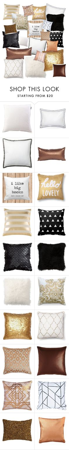"""Gold, copper, white & black"" by caitlin1d23-07-10 ❤ liked on Polyvore featuring interior, interiors, interior design, home, home decor, interior decorating, Lexington, Frette, Serena & Lily and Howard Elliott"
