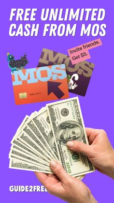 SCORE FREE CASH FROM MOS! Right now you can get $5 from Mos, plus $5 for every friend you refer. The cash you can earn is unlimited! Mos is a fee free banking app for students. Mos has zero overdraft fees, late fees, or in-network ATM fees. Plus, there's no minimum balance required. Plus they offer students free money for college. Everyone who uses Mos gets access to the largest scholarship pool in America and a personal coach who helps you get free money for school and life. Free Cash, Free Money, Free Banking, Free Samples, Playing Cards, Zero, Students, College, America