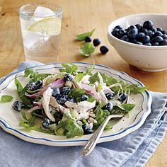 Creamy Blueberry Chicken Salad | MyRecipes.com (made 7/14/14 light healthy and fast, used spring mix instead of arugula)