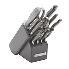 KitchenAid 12-Piece Stamped Knife Set Silver With Grey Block #KitchenAid