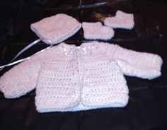 White Baby Layette Set with Bonnet - Hand Crochet (Kalm K)