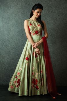 Indian Wedding Suits - Pastel Green Anarkali with Red and Pink Foral Embroidery, Red Net Dupatta | WedMeGood #wedmegood #indiansuit #anarkali #indianbride #pastel #green