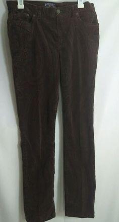 1d96309f67 American Living Women s Jeans Size 8 Brown Paisley Crushed Velvet Straight  Leg  AmericanLiving  CasualPants