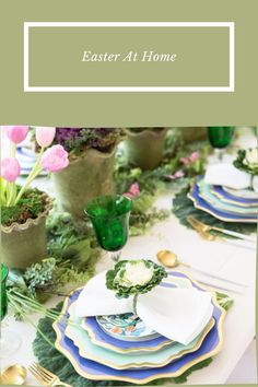 Easter At Home. At Home Easter. Easter Tablescape Inspo Easter Tablescapes. Easter Decor. Easter Brunch Ideas. Brunch Ideas. Easter Place Settings. Cabbage Plant, Cabbage Leaves, Ornamental Kale, Tulip Table, Easter Table Settings, Paper Butterflies, Yellow Tulips, Easter Brunch, Brunch Ideas