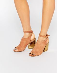 Image 1 of ALDO Seventy Rust Metal Heel Sandals