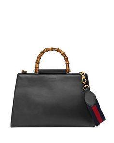Gucci Large Nymphea Bicolor Leather Top Handle Satchel - Black In Black, Red Brand Name Bags, Womens Purses, Black Tote Bag, Shoulder Handbags, Shoulder Bags, Luxury Bags, Leather Handle, Soft Leather, Purses And Handbags