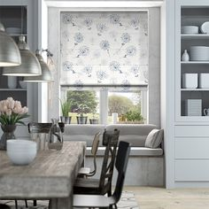 Floral Breeze Bluegrey Roman Blind