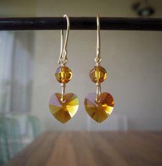 Swarovski Crystal Earrings Topaz Earrings by MyCrafeteria on Etsy