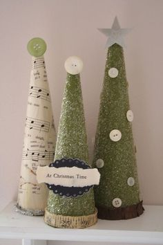 Papier mache cones covered with scrapbook paper & decorated with buttons & glitter