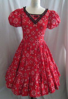 Vintage 60s SQUARE Dance DRESS BANDANA Print by Cuckoochenille, $65.00