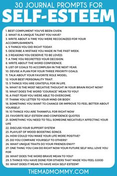 30 Journal Prompts for Self Esteem Boosting and Positive Thinking Boosting and Positive Thinking - - Journaling can be a great self esteem booster. Not sure what to write? Take a look at these 30 journal prompts for self esteem that will help! Therapy Journal, Art Therapy, Writing Therapy, Journal Questions, Journal Writing Prompts, Journal Ideas, Journal Prompts For Teens, Bullet Journal Prompts, Journal Topics