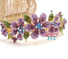 New Fashion Austrian Crystal flowers gold tone metal hair barrette clip pin B82