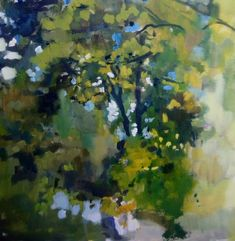 An oil painting of trees by a stream. It was painted plein air in Kilkenny Ireland. Painted with clear brushstrokes in greens and blue. #treepainting #oilpainting #landscapepaintingireland #gardenpaintings #landscapepaintingsireland #landscapetreepainting #treeart #contemporaryart #pleinair Irish Landscape, Contemporary Landscape, Garden Painting, Tree Art, Landscape Paintings, Ireland, Scenery, Trees, Oil
