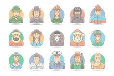 Flat People Cartoon Icons Set by painterr on @creativemarket