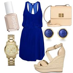 Royal blue and nude.