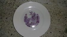 Antique mulberry Transfer ware plate dinner women at fountain Homer Laughlin