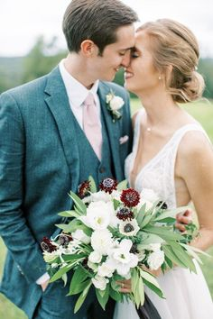 Mike and Frances relaxed Summer backyard wedding, black and white flowers, dahlias, lisianthus, bay leaves, scabiosa, anemone, tuberose, black ribbon, bride and groom, gray blue suit, blush tie, asymmetrical wild bouquet, modern, Wild Fleurette Virginia & destination wedding and event florist, Photography| Allison Dash | Planning | For Love of Love | Hair | Shear Wildness | Rentals | Rent-e-Quip, Paisley & Jade | Lighting | Lighting Professors Wedding Black, Floral Wedding, Summer Wedding, Wedding Colors, Wedding Flowers, Wedding Poses, Wedding Portraits, Wedding Ideas, White Bouquets
