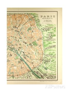 Map of the Monuments in Paris Giclee Print at AllPosters.com