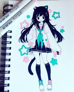 Likes, 98 Comments - Yoai / Anny / Cicishu ( Anime Drawings Sketches, Anime Sketch, Kawaii Drawings, Cute Drawings, Cute Anime Character, Character Art, Character Design, Art Manga, Anime Art Girl