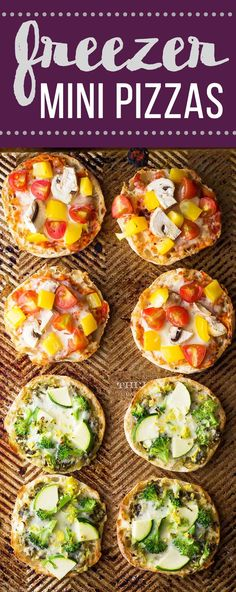 Make a batch of these freezer mini pizzas and stash them in your freezer for a healthy grab and go snack.  Perfect for a work lunch!  Two recipes are shown: green goddess and red sauce pizzas.