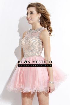 2015 Scoop A-Line Short / Mini Abiti Homecoming corsetto in rilievo Tulle