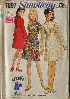 Simplicity 7897 Vintage 60s Mod A Line Dress  by omasbricabrac, $9.95, my homecoming dress!