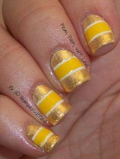 31dc2013 Day 3 Yellow Nails nails glitter gold yellow Get more bright