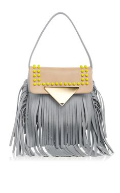 Calf Leather Fringed Cross Body Bag by Sara Battagila Now Available on Moda Operandi