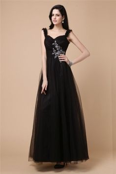 Elegant Sleeveless Beading Tulle Full Length Black Prom Dress Black Prom Dresses Uk, Formal Dresses, Dress P, Beading, Tulle, Elegant, Fashion, Dresses For Formal, Classy